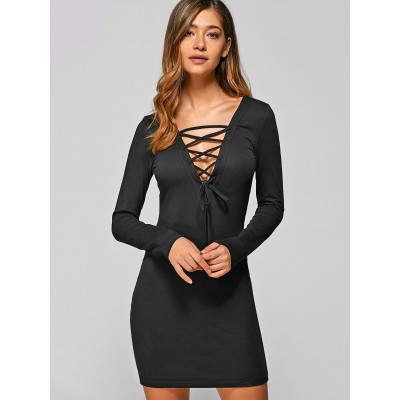 Long Sleeve Lace Up Bodycon Mini Dress - Black