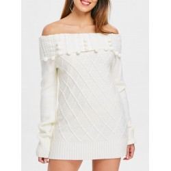 Long Sleeve Off Shoulder Rhombus Sweater Dress - Crystal Cream