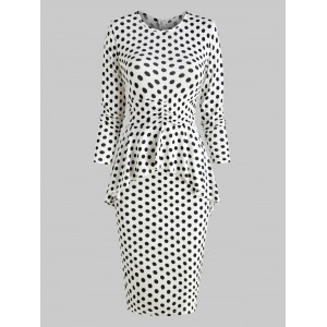 Polka Dot Ruffle Bodycon Dress - White