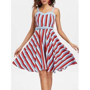 Striped Belted A Line Vintage Dress - Multi