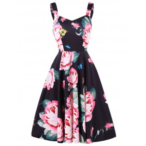 Sweetheart Neck Floral Print Fit and Flare Dress - Black