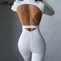 FQLWL Long Sleeve White Backless Jumpsuit Women Romper One Piece Outfit Ladies Sexy Bodycon Black Brown Jumpsuit Female 2021