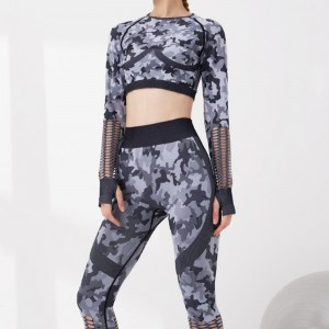2PCS Set of Female Camouflage Yoga suit Gym clothing workout long sleeve fitness crop top high waist Legging Seamless Sport set