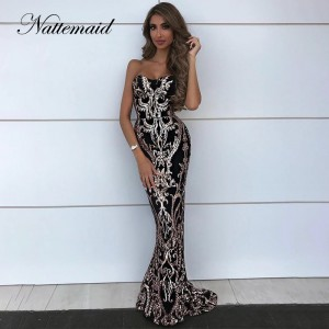 Backless Bodycon Dress Women Strapless Long Maxi Party Dresses Elegant Off Shoulder Sequin Silver Gold