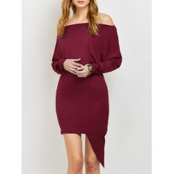 Batwing Sleeve Off The Shoulder Asymmetrical Dress - Burgundy