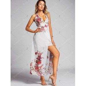 Low Cut Backless Floral Dress - White