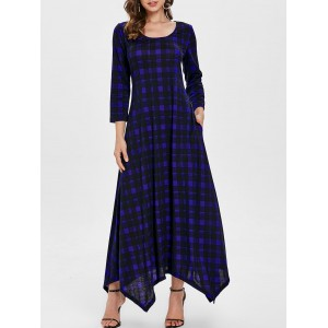 Scoop Neck Handkerchief Plaid Long Dress - Navy Blue