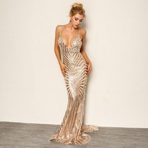 Sexy Backless Deep V Neck Sequin Maxi Dress Elegant Evening Gold Black Red White