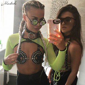 Tops Summer Vest Perspective Tank Tops Halter Vest Smock Ladies Sexy Bustier Mesh Casual Crop Top Green
