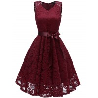 V Neck Lace A Line Sleeveless Dress - Red Wine