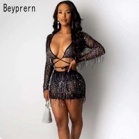 Beyprern Chic Sequins Bandage Crop Top And High Waist Skirt Set Womens Tassle Sequins Tracksuit Night Out Celebraties Outfits