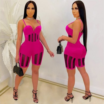 Beyprern New Chic Spagetti Straps Caged Romper (Black) Womens Jumpsuits Sexy See Through Sheer Mesh Skinny Bodysuits Party