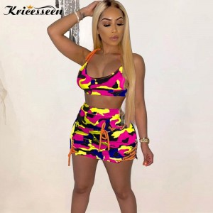 Kricesseen Fashion Camo Print Women Tracksuit Set Two Piece Womens Camouflage Printed Crop Top And Eyelet Details Shorts Set