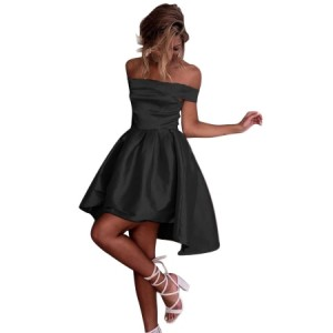 Black Off Shoulder Pleated Satin Homecoming Dress PINK