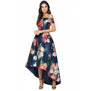Navy Satin Floral Off Shoulder Prom Dress