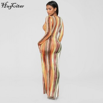 Hugcitar 2020 long sleeve colorful print V-neck bodycon long dress spring women new fashion streetwear party elegant outfits