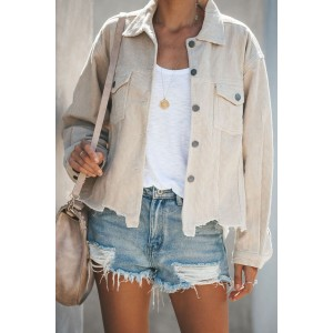 Black Distressed Cotton Cordury Jacket Beige