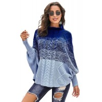 Black Ombre Thick Knit Poncho Style Sweater Sky Blue