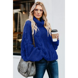 Gray Cuddle Weather Cable Knit Handmade Turtleneck Sweater Blue Yellow