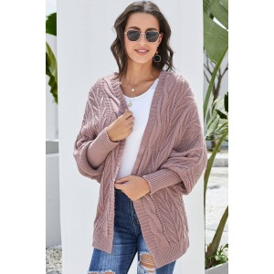 Green Dolman Sleeve Open Front Knit Cardigan Pink Gray