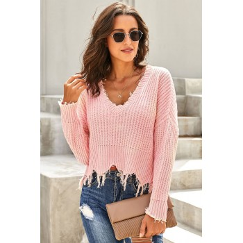 Apricot Tainted Love Cotton Distressed Sweater Pink Gray Black