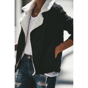 Khaki Fold Over Collar Zipper Plain Jacket Black
