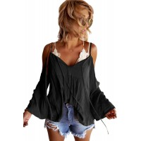 White Flare Sleeve Spaghetti Strap Cold Shoulder Ruffled Blouse Yellow Black