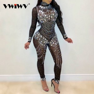 Women Mock Neck Jumpsuit Sequin Rhinestone Diamonds Jumpsuits Long Sleeve Skinny Bodysuits Clubwear Party One Piece Romper