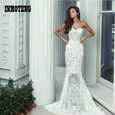 Sheerness Mermaid Party Dress Sexy Floor Length Strapless Elegant Lace Dress Women Vintage Slim White Bride Dresses