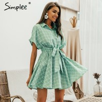 Simplee Elegant plaid sashes women dress Short sleeve A-line casual streetwear female short dress Button summer dress Light Green