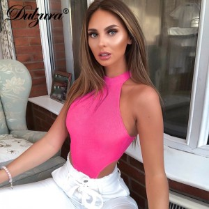 summer women bodysuit sleeveless skinny elegant sexy streetwear festival party club clothes body one piece rompers Green Rose Orange