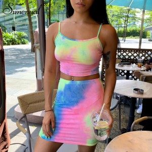 Tie Dye Strap Sexy Women Two Piece Sets Sleeveless Bodycon Summer 2019 Fashion Slim Outfits Camis And Mini Skirt Set