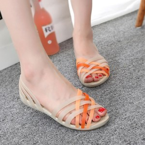 Women Sandals Jelly Shoes Peep Toe Summer Beach Shoes Zapatos De Mujer Ladies Slides Candy Rainbow Flats