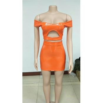 PU Leather Sexy Two Piece Set Women Off Shoulder 2 Piece Crop Top and Bodycon Skirt Set Party Summer Matching Sets Club Outfits Orange Yellow