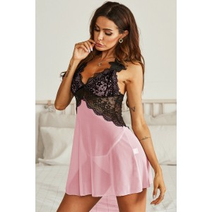 Pink Lace Bralette and Pink Babydoll Nightdress Black