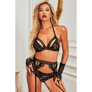 Black Luxury Sensual Lover Bralette Lingerie Set Red
