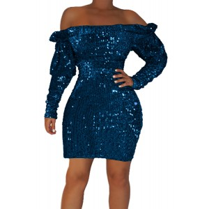 Gold Sequin Off Shoulder Club Dress Blue