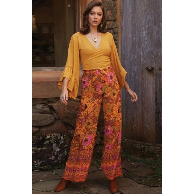 Orange Palazzo Pants Multi