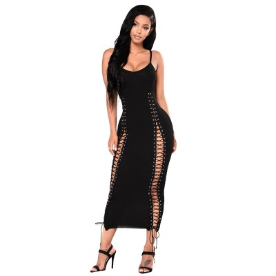 Echoine Spaghetti Strap Evening Party Long Dress Sexy Lady Night Club Dress Knitted Ribbed Vestidos Grommet Bandage Dresses