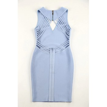 New Fashion 2020 Sexy V Neck Designer Light Blue Bandage Dress Women Sexy Backless Summer Party Dress