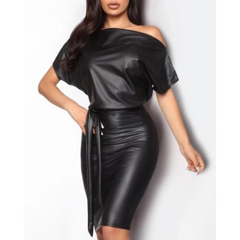 Brand New Women PU Leather Wet Look Bodycon Bandage Dress Ladies Female Off Shoulder Sheath Party Club Mini Pencil Dress