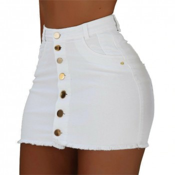 Brand New Women Stretch High Waist Solid Skirt Summer Button Denim Solid Short Mini Jeans Denim Pencil Skirts