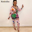 Kricesseen Casual Print Two Pieces Pant Set Women Button Up Top And Long Pants Suits Matching Sets Two Piece Outfits