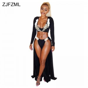 Double High Front Split Sexy Maxi Dress Women Deep V-Neck Long Sleeve Party Dress Spring White Embroidery 2 Piece Dress