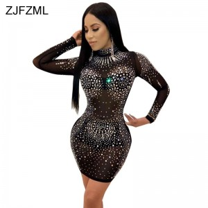 Glitter Rhinestones Sexy Plus Size Dress Women Black O Neck Long Sleeve Bodycon Dress Elegant Khaki Mesh Patchwork Party Dresses