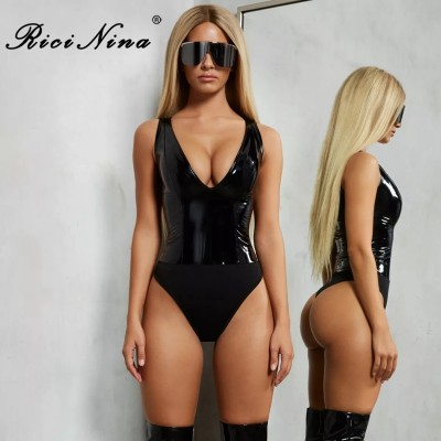 Sexy Bodysuit Women V Neck Sleeveless PU Bodycon Rompers Womens Jumpsuit Summer Autumn Body Suit Beige Black Red