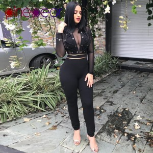 Sexy Mesh Jumpsuit Women 2019 Winter Long Sleeve Lace Up See Through Nightclub Bandage Bodycon Romper Black