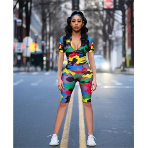 Streetwear Summer Short Rompers Womens Jumpsuit Camouflage Print Bodycon Romper Casual Playsuit Zipper Plus Size Female Red Blue