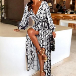 Sexy V-Neck Leopard Printed Long Sleeve Long Maxi Dresses Ladies Summer Snake Skin Print Party A-Line Dress