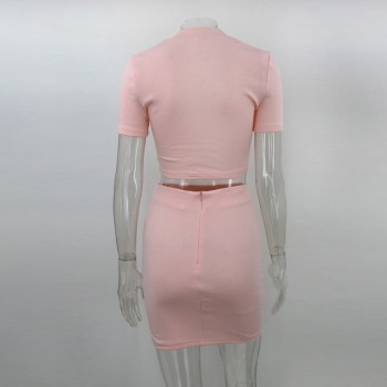 Short Sleeve Above Knee Length Mini Dress cotton material Slim Bodycon Bandage Summer Dresses Pink